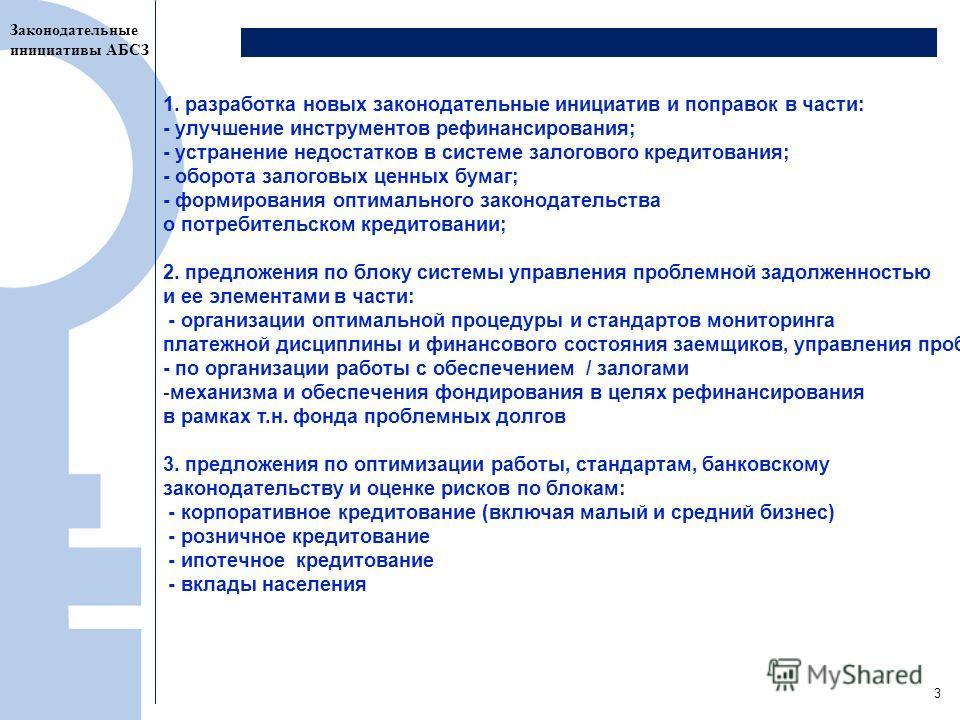 4 1. разработка новых законодательные инициатив и поправок в части: - улучшение инструментов рефинансирования; - устранение недостатков в системе залогового кредитования; - оборота залоговых ценных бумаг; - формирования оптимального законодательства