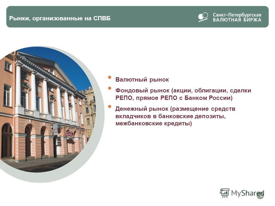 Валютный рынок Фондовый рынок (акции, облигации, сделки РЕПО, прямое РЕПО с Банком России) Денежный рынок (размещение средств вкладчиков в банковские депозиты, межбанковские кредиты) Рынки, организованные на СПВБ 6