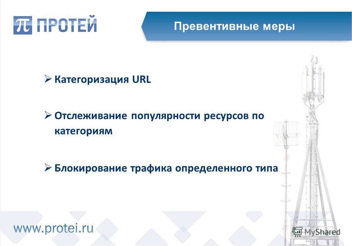 Категоризация URL Отслеживание популярности ресурсов по категориям Блокирование трафика определенного типа Превентивные меры