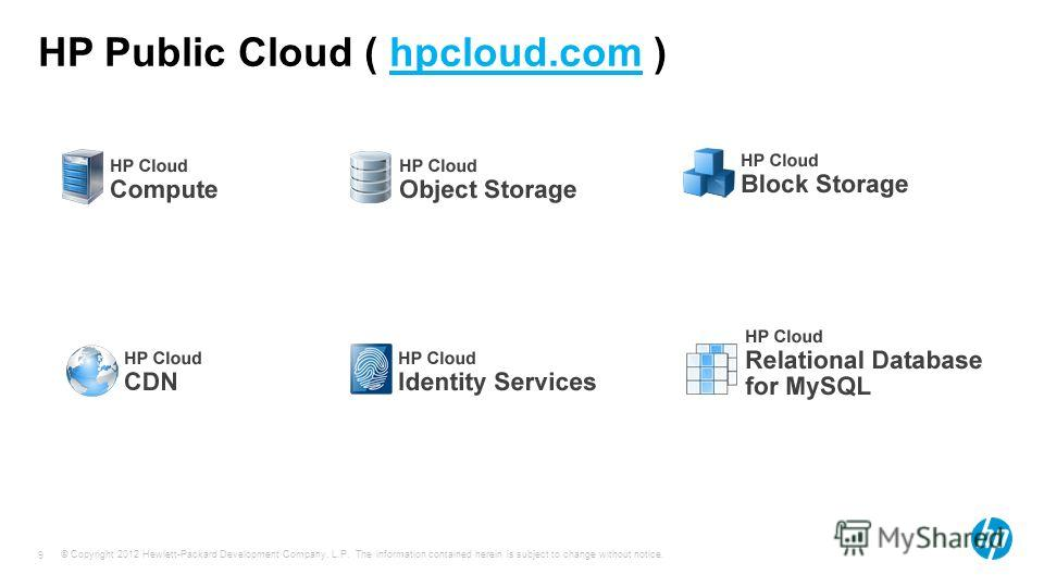 © Copyright 2012 Hewlett-Packard Development Company, L.P. The information contained herein is subject to change without notice. 9 HP Public Cloud ( hpcloud.com )
