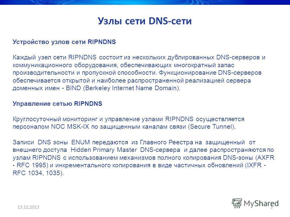 13.12.20135 Узлы сети DNS-сети Устройство узлов сети RIPNDNS Каждый узел сети RIPNDNS состоит из нескольких дублированных DNS-серверов и коммуникационного оборудования, обеспечивающих многократный запас производительности и пропускной способности. Фу