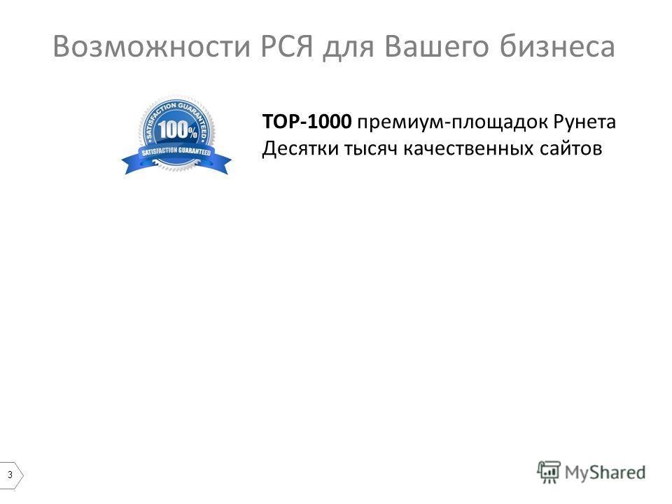3 Возможности РСЯ для Вашего бизнеса ТОР-1000 премиум-площадок Рунета Десятки тысяч качественных сайтов