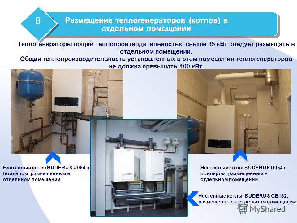 Настенный котел BUDERUS U054 c бойлером, размещенный в отдельном помещении Теплогенераторы общей теплопроизводительностью свыше 35 кВт следует размещать в отдельном помещении. Общая теплопроизводительность установленных в этом помещении теплогенерато