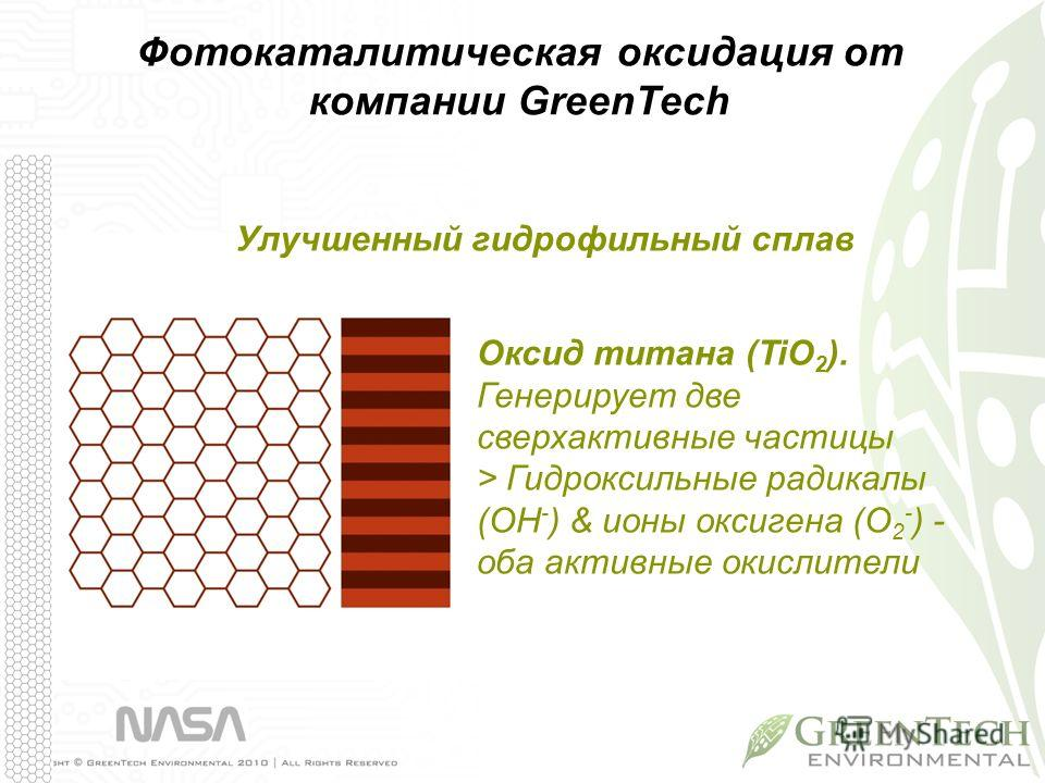 Улучшенный гидрофильный сплав Оксид титана (TiO 2 ). Генерирует две сверхактивные частицы > Гидроксильные радикалы (OH - ) & ионы оксигена (O 2 - ) - оба активные окислители Фотокаталитическая оксидация от компании GreenTech