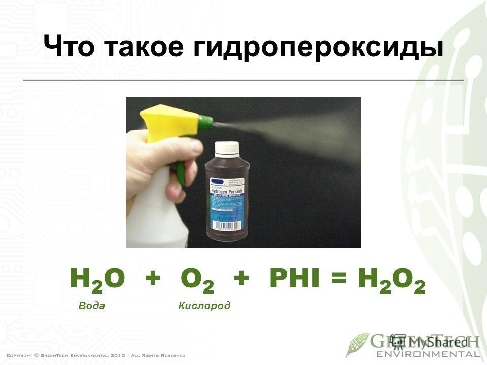 Что такое гидропероксиды Вода Кислород H 2 O + O 2 + PHI = H 2 O 2
