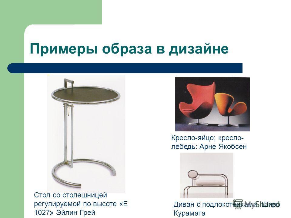Примеры образа в дизайне Стол со столешницей регулируемой по высоте «Е 1027» Эйлин Грей Кресло-яйцо; кресло- лебедь: Арне Якобсен Диван с подлокотниками, Широ Курамата