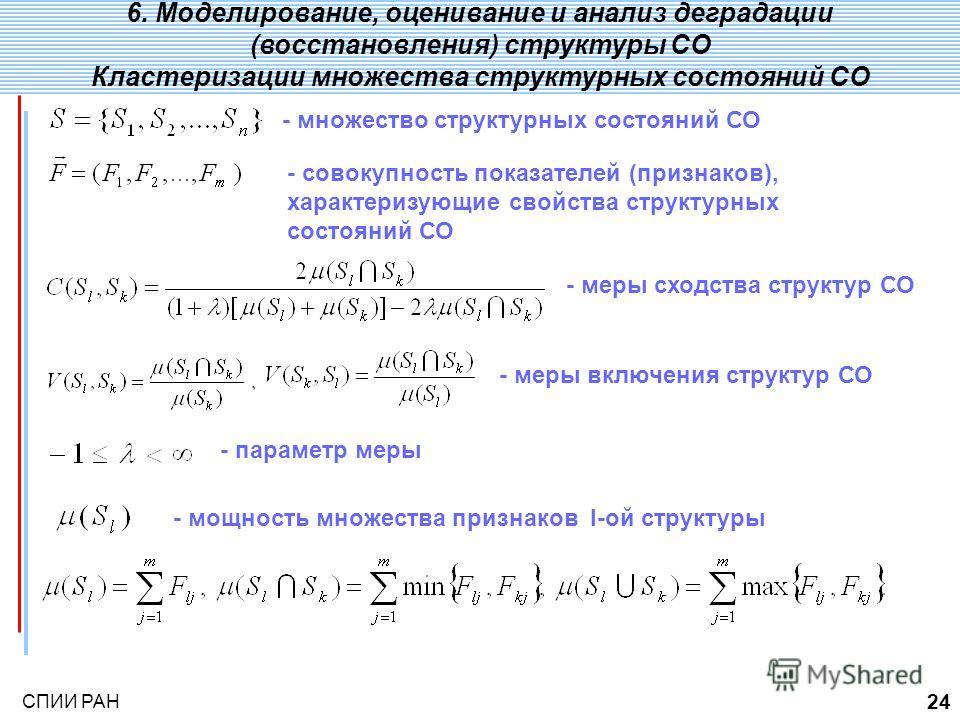 СПИИ РАН 24 2., определения, концепции 1. Примеры сложных технических систем ;. 6. Моделирование, оценивание и анализ деградации (восстановления) структуры СО Кластеризации множества структурных состояний СО - множество структурных состояний СО - сов