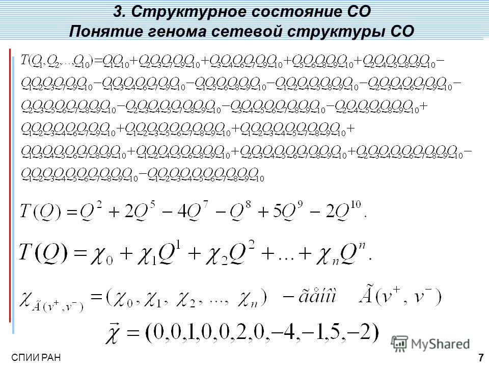 СПИИ РАН 7 3. Понятие генома сетевой структуры СО 3. Структурное состояние СО Понятие генома сетевой структуры СО