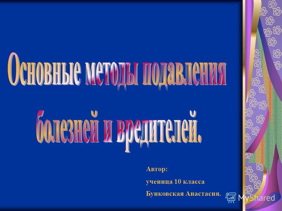 Автор: ученица 10 класса Бунковская Анастасия.