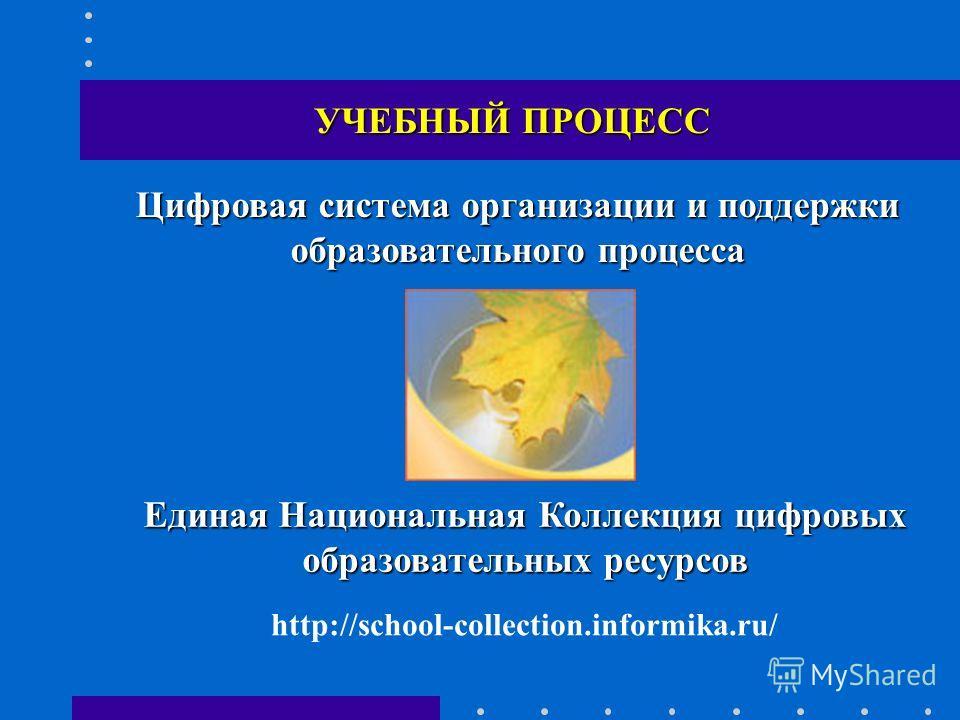 УЧЕБНЫЙ ПРОЦЕСС Цифровая система организации и поддержки образовательного процесса Единая Национальная Коллекция цифровых образовательных ресурсов http://school-collection.informika.ru/