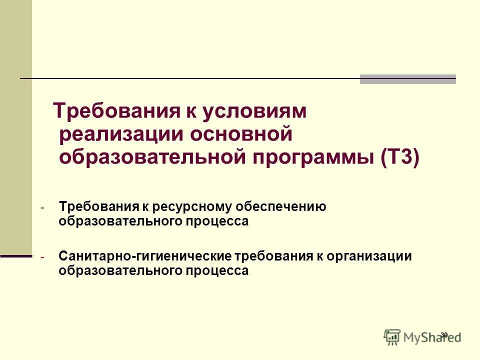 30 Требования к условиям реализации основной образовательной программы (Т3) - Требования к ресурсному обеспечению образовательного процесса - Санитарно-гигиенические требования к организации образовательного процесса