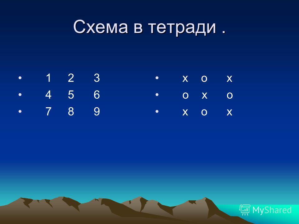 Схема в тетради. 1 2 3 4 5 6 7 8 9 х о х о х о х о х