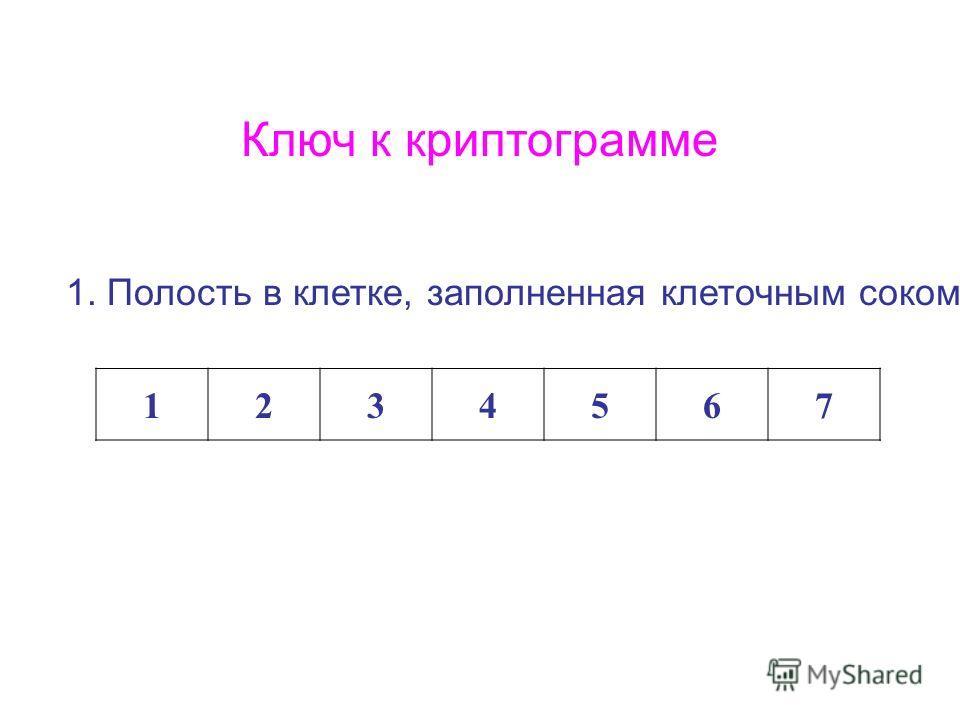 Ключ к криптограмме 1. Полость в клетке, заполненная клеточным соком 1234567