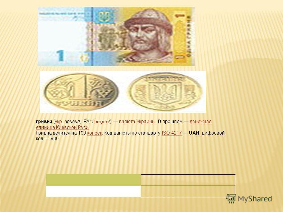гри́вна (укр. гривня, IPA: / ˈɦrɪu̯nʲɑ /) валюта Украины. В прошлом денежная единица Киевской Руси.укр. ˈɦrɪu̯nʲɑвалютаУкраиныденежная единица Киевской Руси Гривна делится на 100 копеек. Код валюты по стандарту ISO 4217 UAH, цифровой код 980.копеекIS