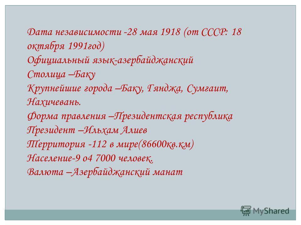 Дата независимости -28 мая 1918 (от СССР: 18 октября 1991год) Официальный язык-азербайджанский Столица –Баку Крупнейшие города –Баку, Гянджа, Сумгаит, Нахичевань. Форма правления –Президентская республика Президент –Ильхам Алиев Территория -112 в мир