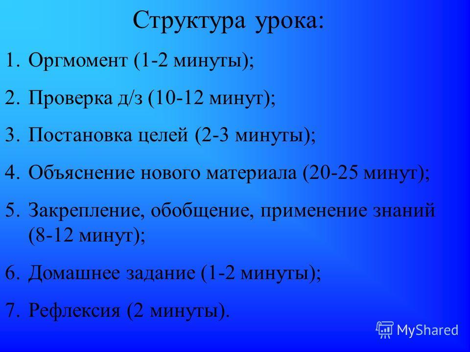 Структура урока: 1.Оргмомент (1-2 минуты); 2.Проверка д/з (10-12 минут); 3.Постановка целей (2-3 минуты); 4.Объяснение нового материала (20-25 минут); 5.Закрепление, обобщение, применение знаний (8-12 минут); 6.Домашнее задание (1-2 минуты); 7.Рефлек