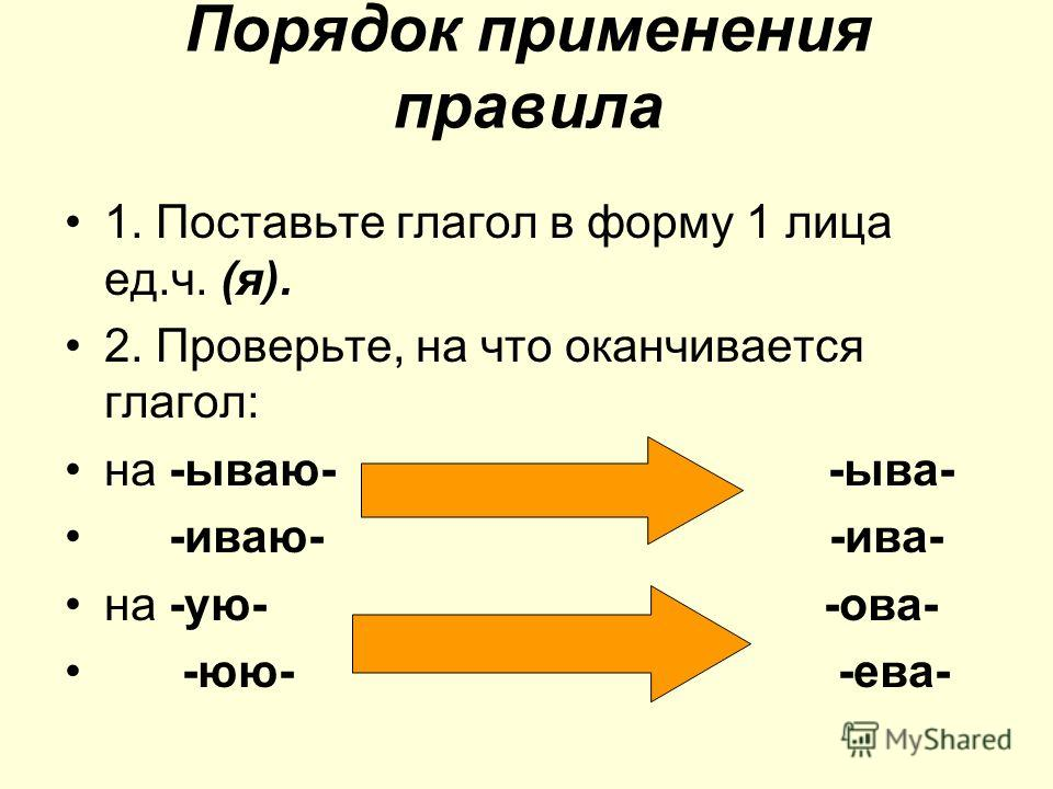 Порядок применения правила 1. Поставьте глагол в форму 1 лица ед.ч. (я). 2. Проверьте, на что оканчивается глагол: на -ываю- -ыва- -иваю- -ива- на -ую- -ова- -юю- -ева-