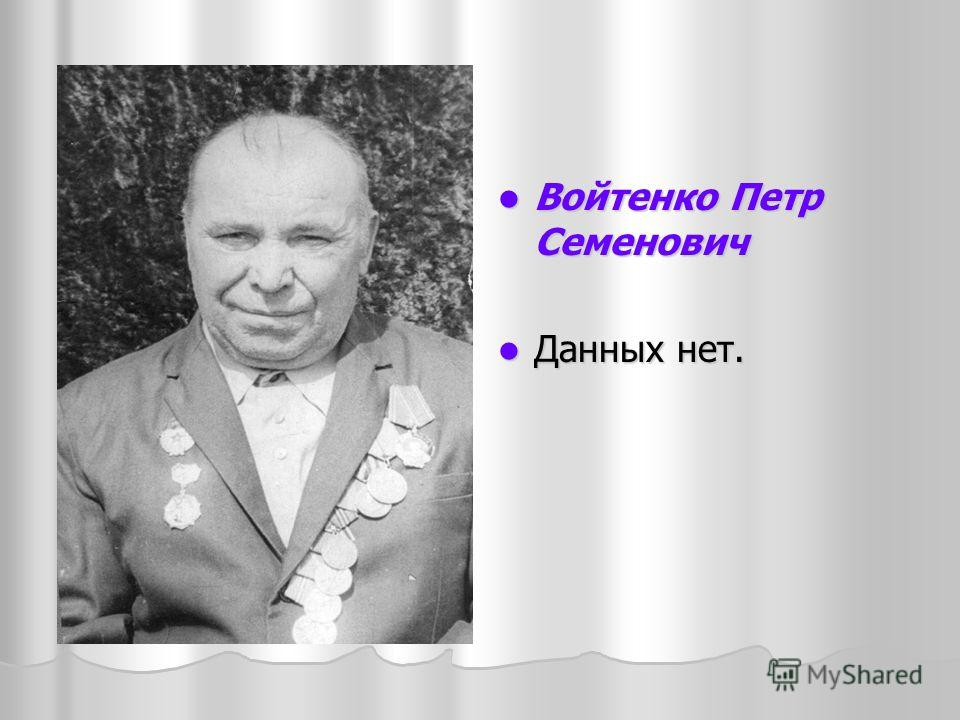 Войтенко Петр Семенович Войтенко Петр Семенович Данных нет. Данных нет.