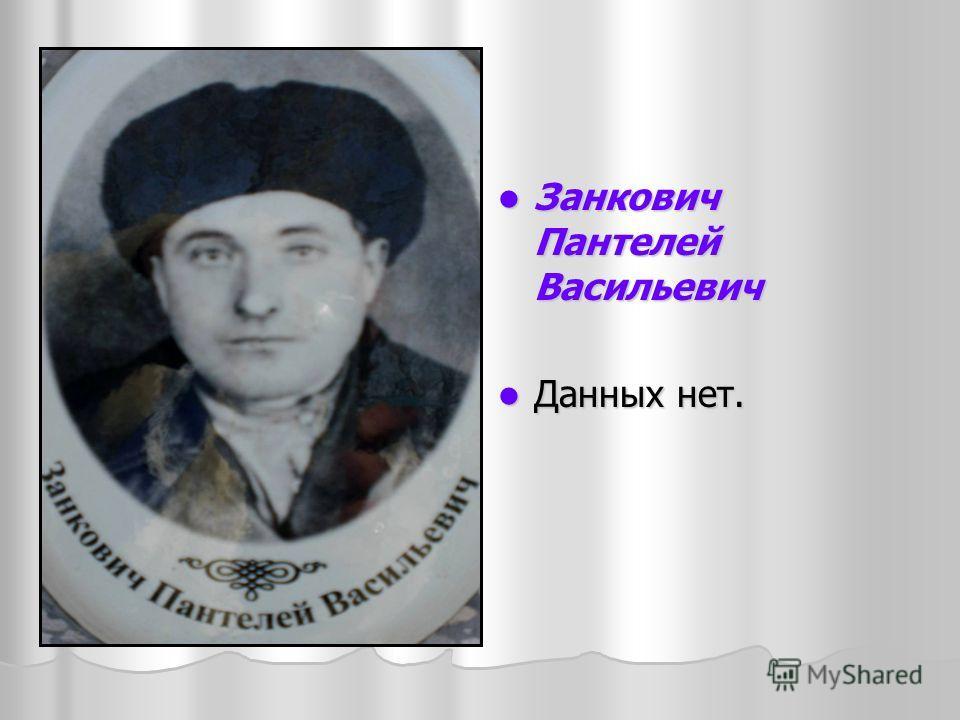 Занкович Пантелей Васильевич Занкович Пантелей Васильевич Данных нет. Данных нет.