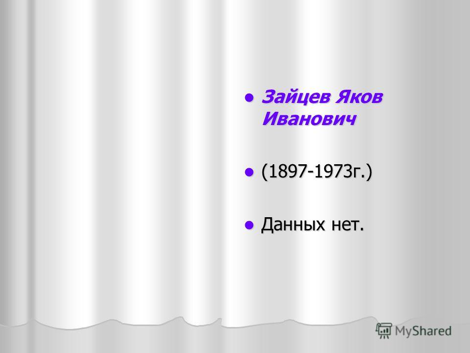 Зайцев Яков Иванович Зайцев Яков Иванович (1897-1973г.) (1897-1973г.) Данных нет. Данных нет.