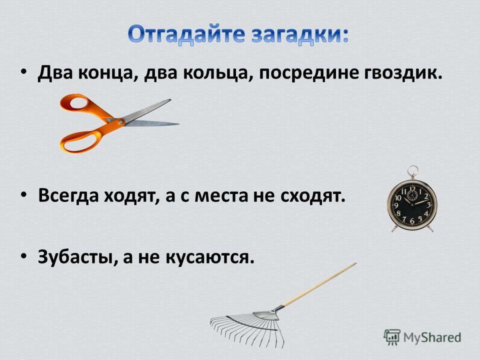 Два конца, два кольца, посредине гвоздик. Всегда ходят, а с места не сходят. Зубасты, а не кусаются.