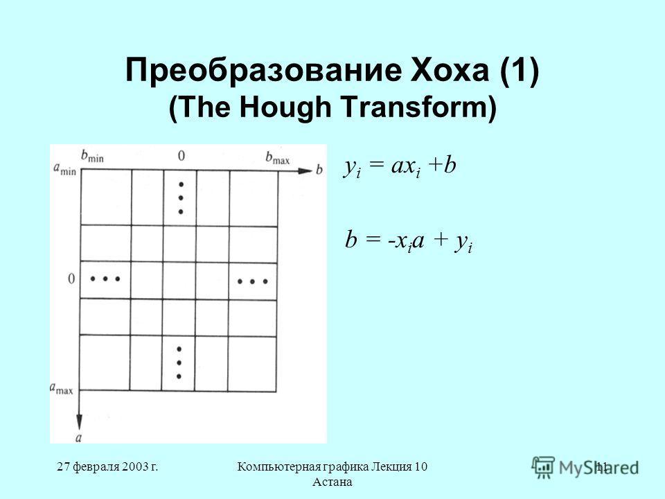 27 февраля 2003 г.Компьютерная графика Лекция 10 Астана 11 Преобразование Хоха (1) (The Hough Transform) y i = ax i +b b = -x i a + y i