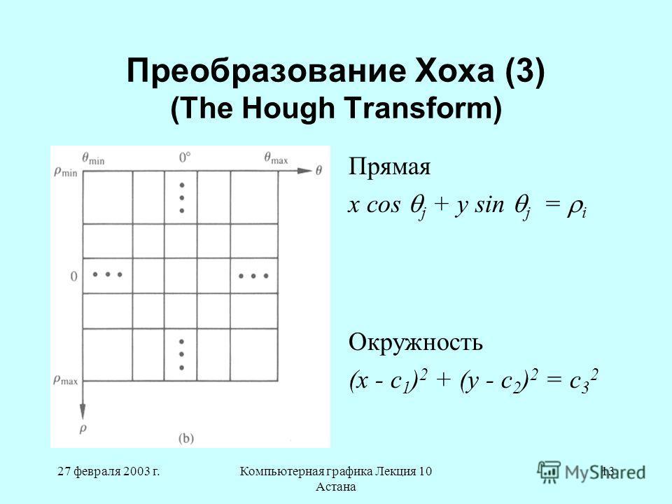 27 февраля 2003 г.Компьютерная графика Лекция 10 Астана 13 Преобразование Хоха (3) (The Hough Transform) Прямая x cos j + y sin j = i Окружность (x - c 1 ) 2 + (y - c 2 ) 2 = c 3 2