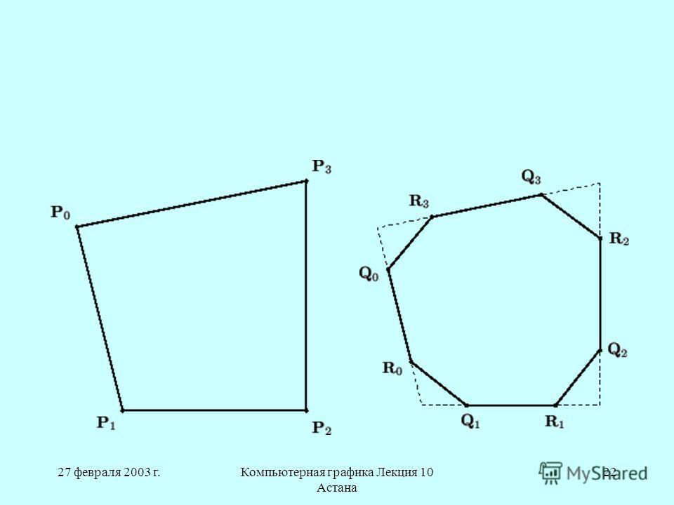 27 февраля 2003 г.Компьютерная графика Лекция 10 Астана 22