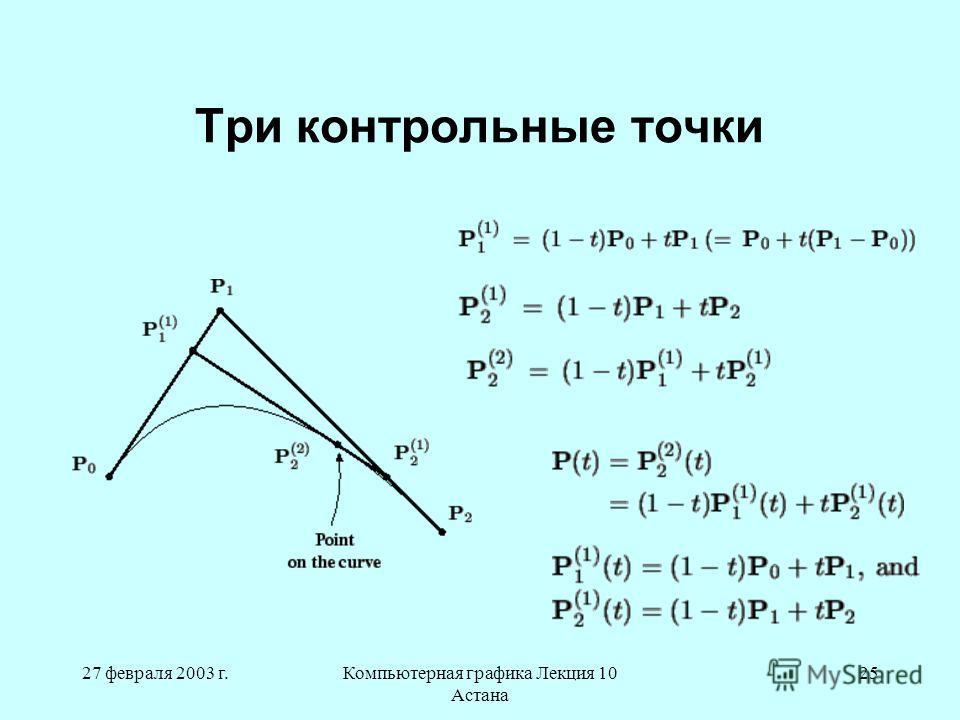 27 февраля 2003 г.Компьютерная графика Лекция 10 Астана 25 Три контрольные точки