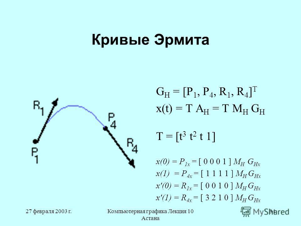 27 февраля 2003 г.Компьютерная графика Лекция 10 Астана 34 Кривые Эрмита G H = [P 1, P 4, R 1, R 4 ] T x(t) = T A H = T M H G H T = [t 3 t 2 t 1] x(0) = P 1x = [ 0 0 0 1 ] M H G Hx x(1) = P 4x = [ 1 1 1 1 ] M H G Hx x'(0) = R 1x = [ 0 0 1 0 ] M H G H