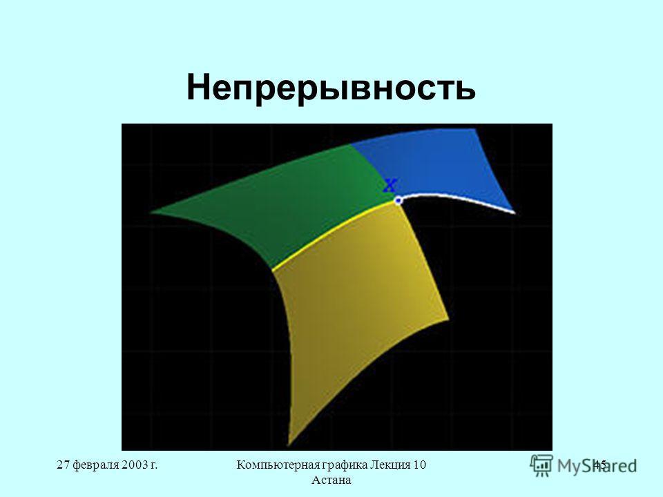 27 февраля 2003 г.Компьютерная графика Лекция 10 Астана 45 Непрерывность