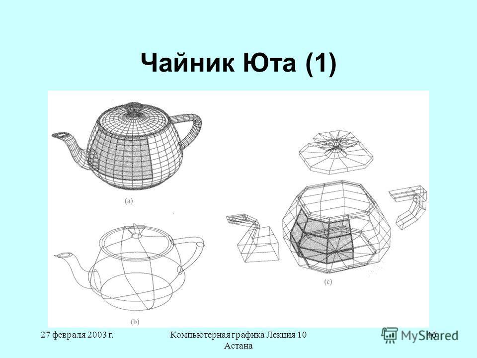 27 февраля 2003 г.Компьютерная графика Лекция 10 Астана 46 Чайник Юта (1)