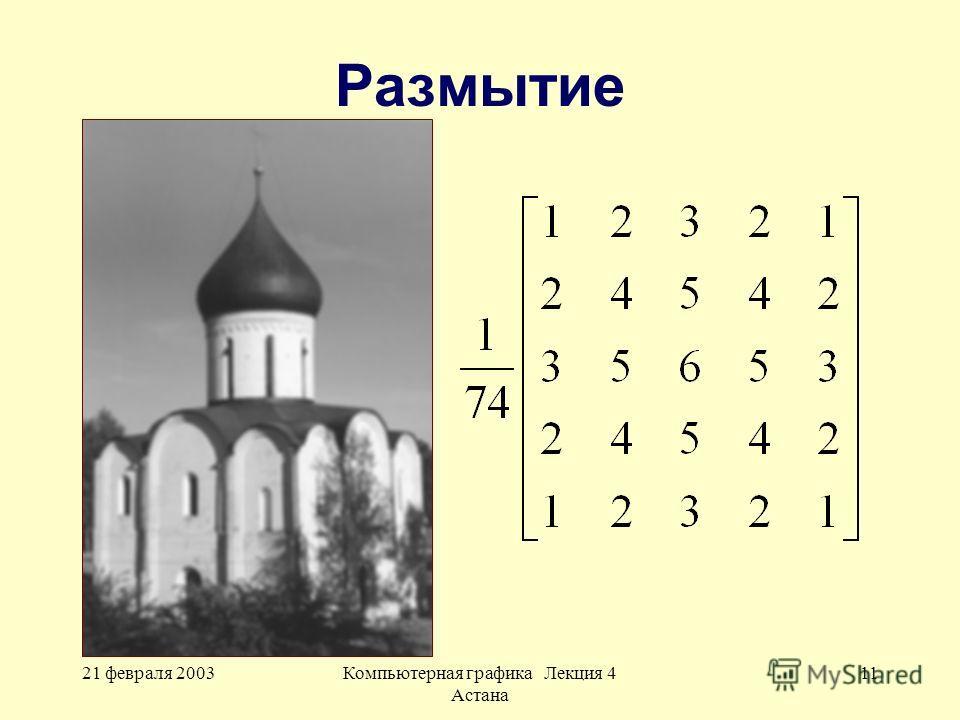 21 февраля 2003Компьютерная графика Лекция 4 Астана 11 Размытие