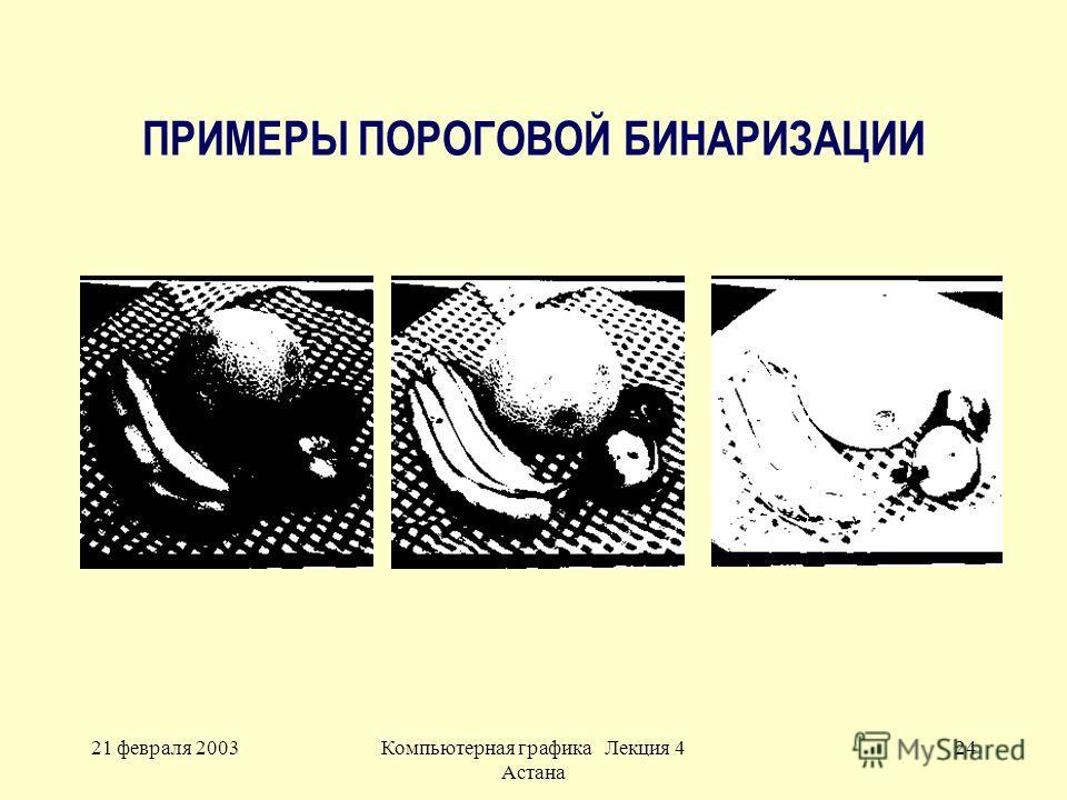 21 февраля 2003Компьютерная графика Лекция 4 Астана 24 ПРИМЕРЫ ПОРОГОВОЙ БИНАРИЗАЦИИ