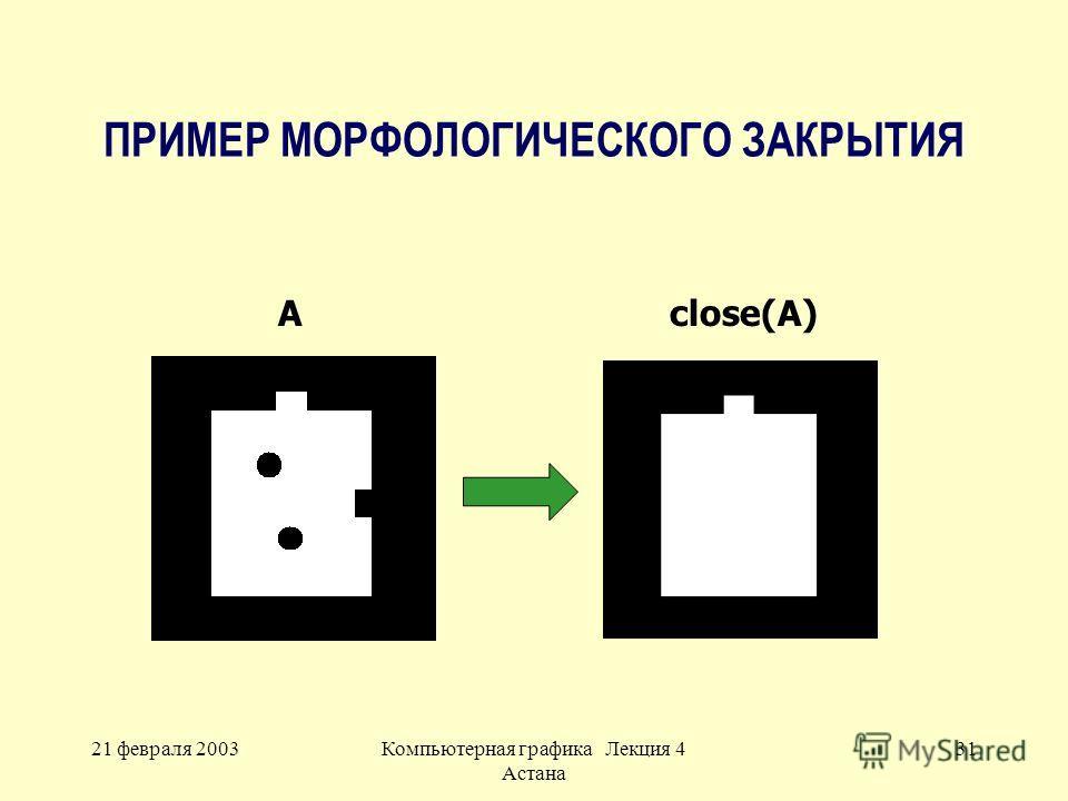 21 февраля 2003Компьютерная графика Лекция 4 Астана 31 ПРИМЕР МОРФОЛОГИЧЕСКОГО ЗАКРЫТИЯ Aclose(A)