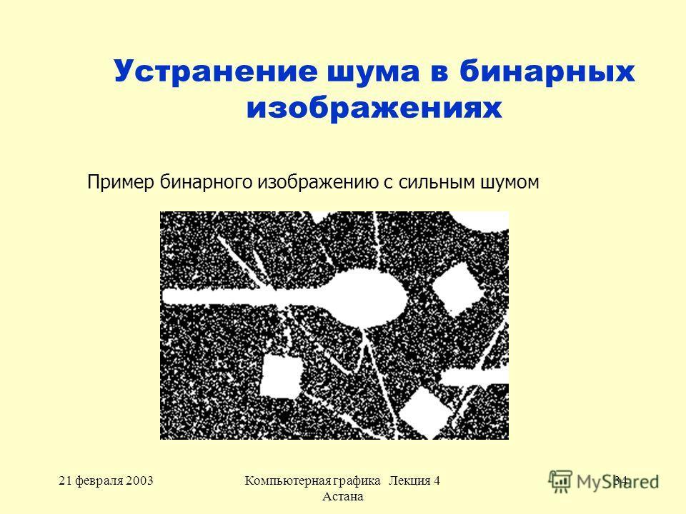 21 февраля 2003Компьютерная графика Лекция 4 Астана 34 Устранение шума в бинарных изображениях Пример бинарного изображению с сильным шумом