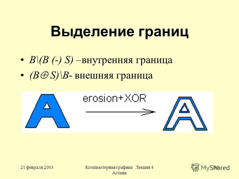 21 февраля 2003Компьютерная графика Лекция 4 Астана 39 Выделение границ В\(B (-) S) –внутренняя граница (В S)\B- внешняя граница