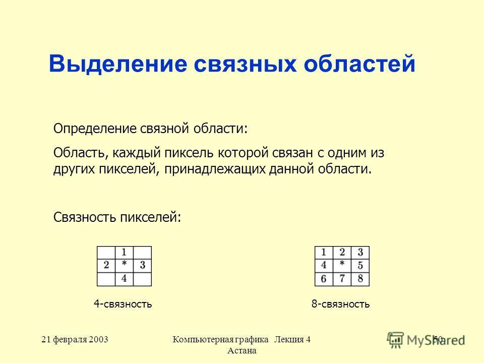 21 февраля 2003Компьютерная графика Лекция 4 Астана 50 Выделение связных областей Определение связной области: Область, каждый пиксель которой связан с одним из других пикселей, принадлежащих данной области. Связность пикселей: 4-связность8-связность