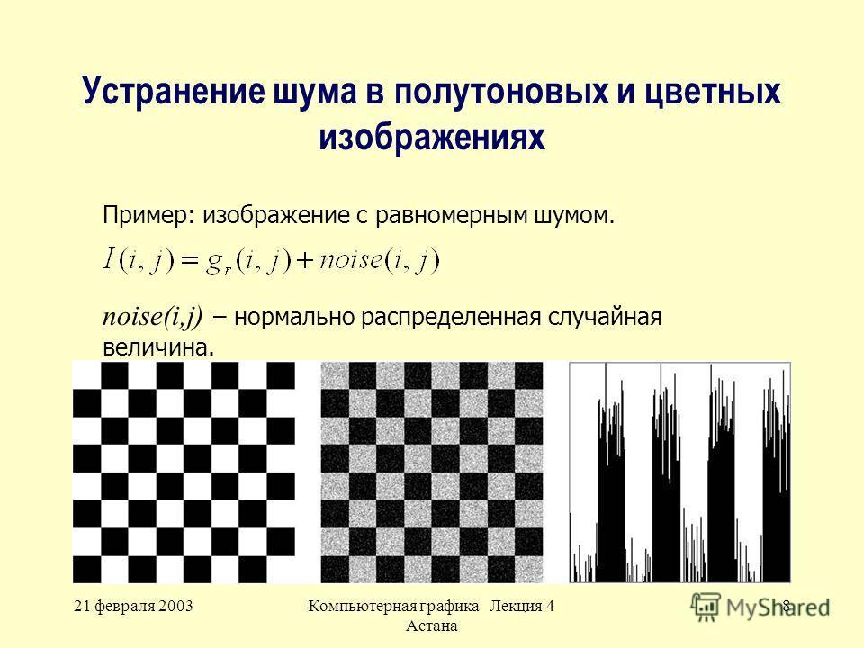 21 февраля 2003Компьютерная графика Лекция 4 Астана 8 Устранение шума в полутоновых и цветных изображениях Пример: изображение с равномерным шумом. noise(i,j) – нормально распределенная случайная величина.
