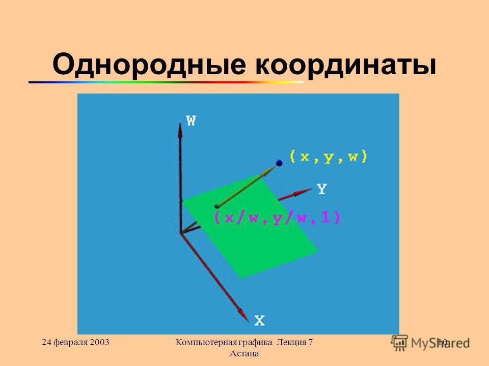 24 февраля 2003Компьютерная графика Лекция 7 Астана 10 Однородные координаты