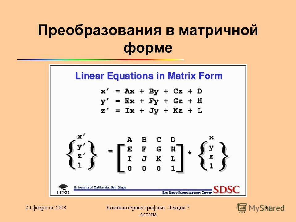 24 февраля 2003Компьютерная графика Лекция 7 Астана 11 Преобразования в матричной форме