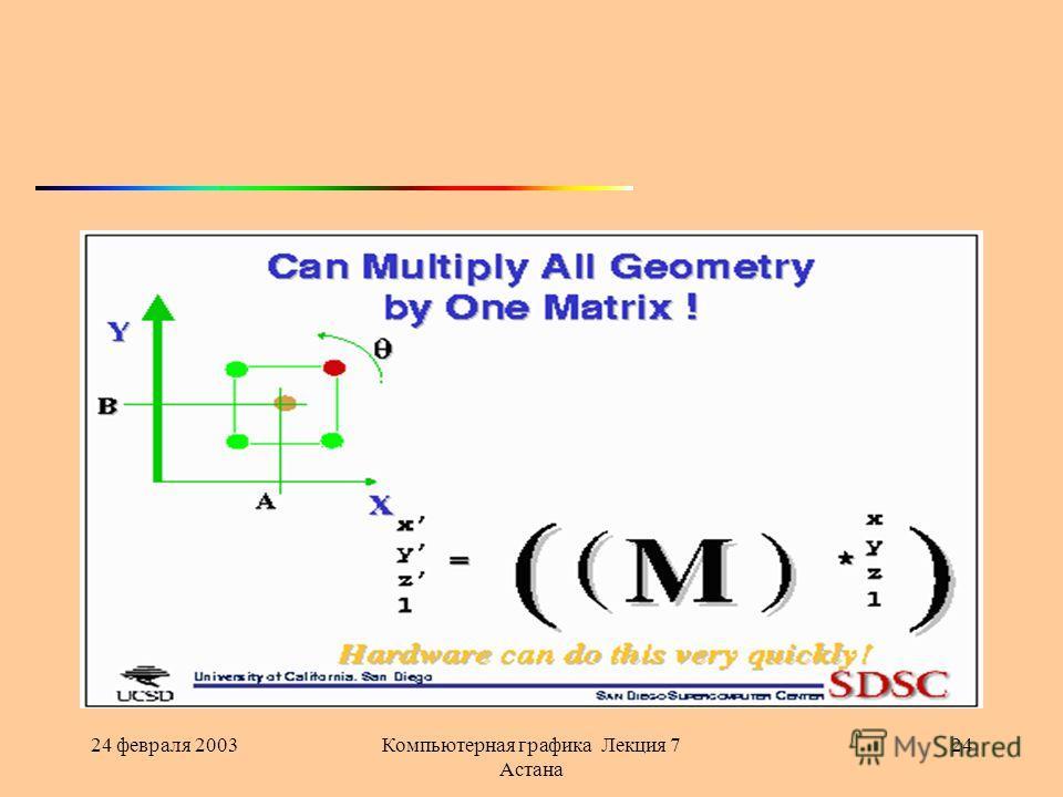 24 февраля 2003Компьютерная графика Лекция 7 Астана 24