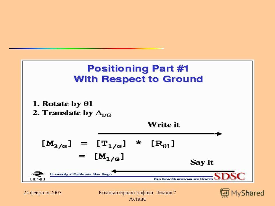 24 февраля 2003Компьютерная графика Лекция 7 Астана 31