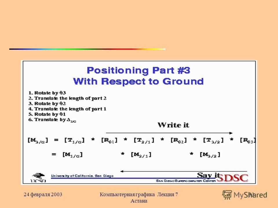 24 февраля 2003Компьютерная графика Лекция 7 Астана 33