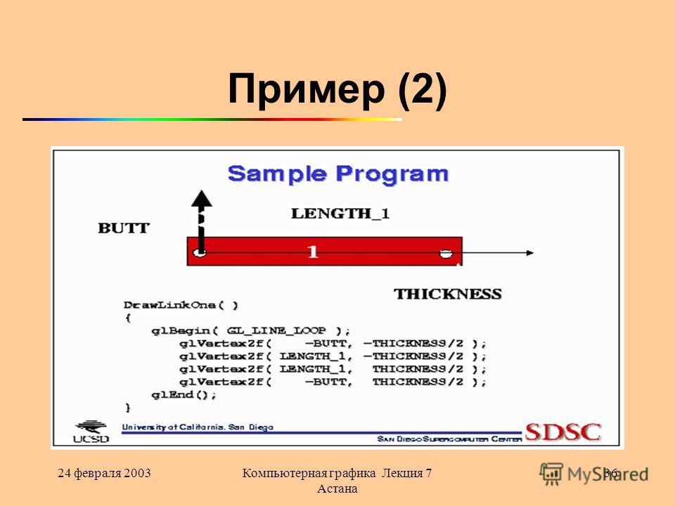 24 февраля 2003Компьютерная графика Лекция 7 Астана 36 Пример (2)