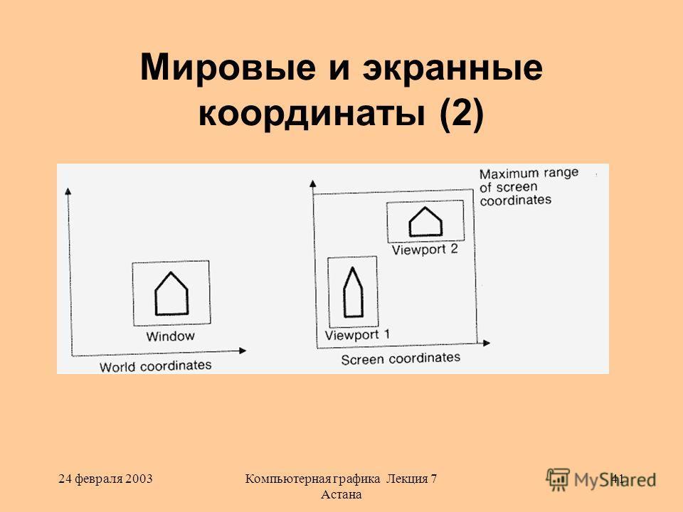 24 февраля 2003Компьютерная графика Лекция 7 Астана 41 Мировые и экранные координаты (2)