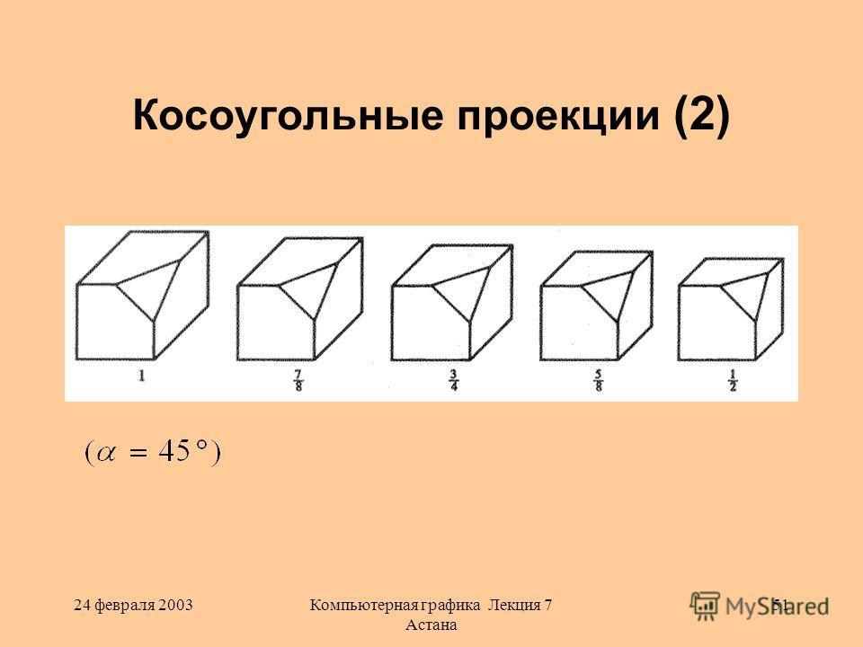 24 февраля 2003Компьютерная графика Лекция 7 Астана 51 Косоугольные проекции (2)