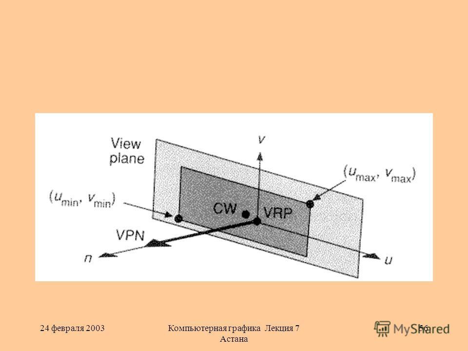 24 февраля 2003Компьютерная графика Лекция 7 Астана 56