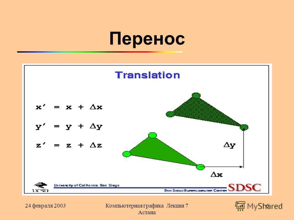 24 февраля 2003Компьютерная графика Лекция 7 Астана 6 Перенос