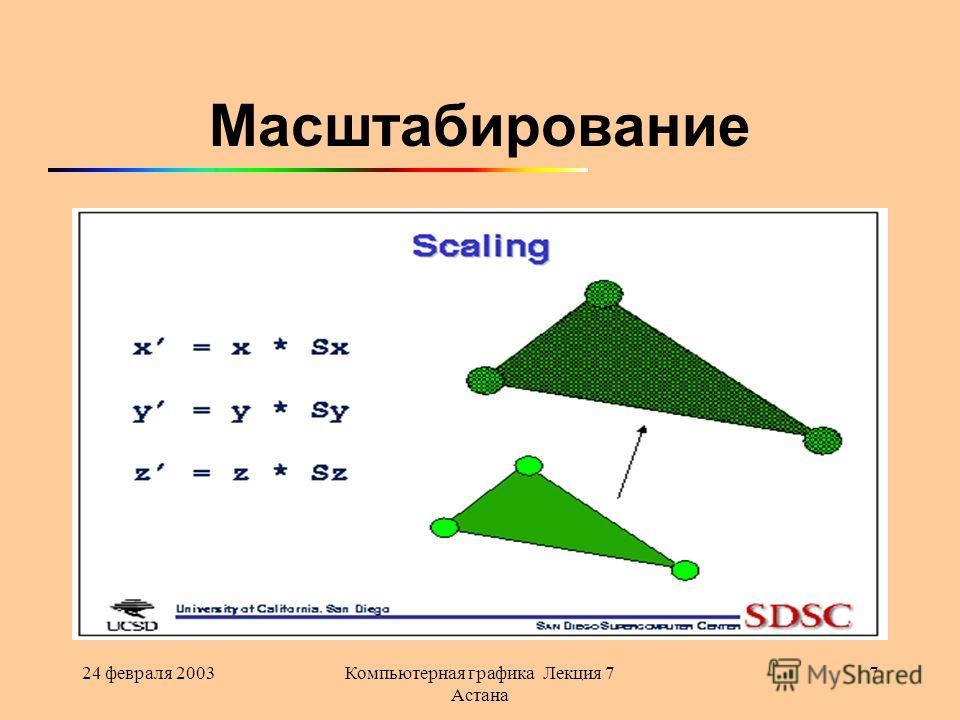 24 февраля 2003Компьютерная графика Лекция 7 Астана 7 Масштабирование